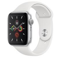 Apple Watch Series 5 GPS 44mm Silver Aluminum w. White b.- Silver Aluminum (MWVD2)